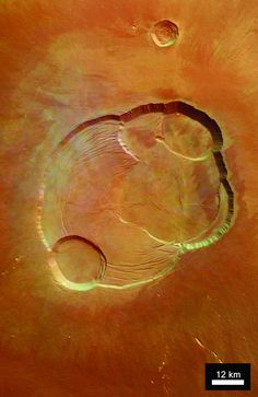 Overhead view of the caldera at the summit of Olympus Mons on Mars, the tallest volcano in the Solar System. View from the Mars Express space probe. Cosmos, Space Photos, Space Images, Planets And Moons, Air And Space Museum, Space And Astronomy, Space Planets, Carl Sagan, Our Solar System