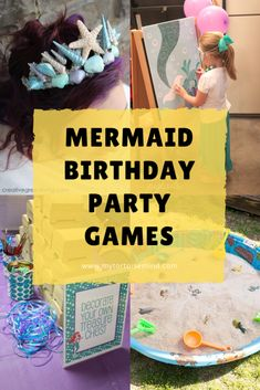 Mermaid party games and activities for a girls mermaid birthday party Sleepover Party, Birthday Party Games, First Birthday Parties, Birthday Party Decorations, 5th Birthday, Mermaid Theme Birthday, Little Mermaid Birthday, Kids Party Themes, Party Activities