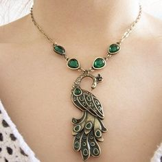 fashion Peacock green stone Pendant clavicle Necklace NL037 el collar-in Pendant Necklaces from Jewelry on Aliexpress.com | Alibaba Group