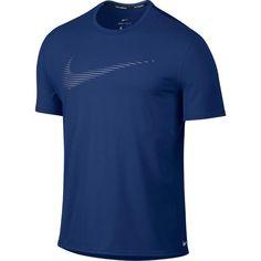 Nike Mens Dry Contour Swoosh Lightweight Running Shirt Blue Gray XL 800812-455 #Nike #ShirtsTops #RunningApparel