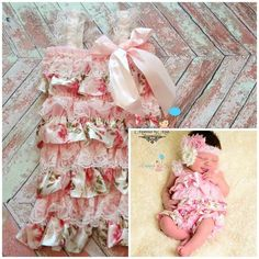 Baby Pink Petti Lace Romper ~ Baby Girl Pink Lace Romper
