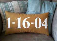 Special Date Lumbar Pillow in Golden Yellow and White-available in other colors on Etsy, $37.00