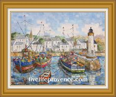 Decorate and Enjoy your Home with Provencal Fine artwork with Original Marina	(Le 	Port de Granville) by renowned French Artist Philippe GIRAUDO. 	www.livelifeprovence.com #llprovence Fine Artwork, Painting, Artwork, French Artists, Original Artwork