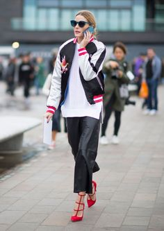Olivia Palermo's Perfect Topshop Bomber Jacket Is Already Sold Out via @WhoWhatWear
