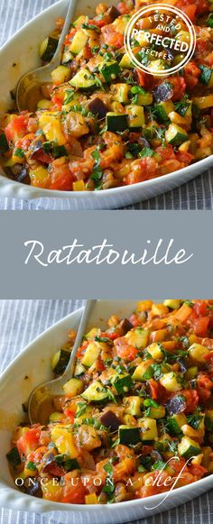 Ratatouille is a bright and chunky summer vegetable stew, rich with olive oil and fragrant with garlic and herbs. Make it ahead to let the flavors evolve. You can even freeze it to enjoy later!Ratatouille is a bright and chunky summer vegetable stew, rich Veggie Recipes, Dinner Recipes, Cooking Recipes, Healthy Recipes, Summer Vegetable Recipes, Summer Vegetarian Recipes, Vegetable Stew, Vegetable Dishes, Veg Stew