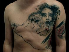 Girl in Smoke Chest Tattoo By Bacanu Bogdan