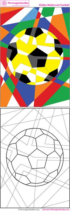 Kids soccer/football printables and activities Get in the World Cup spirit with this abstract art free printable<br> Projects For Kids, Art Projects, Sports Drawings, Art Worksheets, Ecole Art, Sports Art, Art Activities, Matter Activities, Colouring Pages