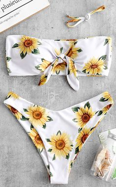 shop ZAFUL Knot Sunflower Print Bikini Set - WHITE S swim wear onepiece fashion 2020 trends plus size tankini vintage Push Up Bikini, Bandeau Bikini, Bikini Sets, Bikini Swimwear, Bikini Girls, Mermaid Bikini, Bandeau Tops, Floral Bikini, Trendy Swimwear