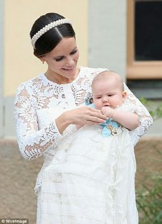 Princess Sofia and Prince Alexander of Sweden at the Prince's christening. Stockholm. September 9 2016
