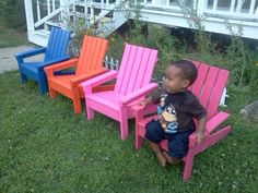 4 Bright Little Adirondack chairs | Do It Yourself Home Projects from Ana White