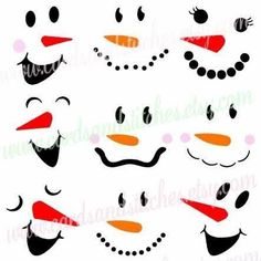 Snowman Faces SVG Digital Cutting File is perfect for signs, shirts and more.