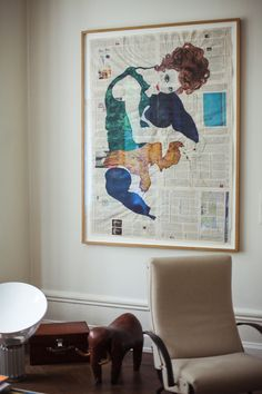 Berlin Apartment of Karena Schuessler...egon schiele-inspired painting on newspaper