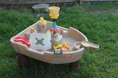 SOLD --- LITTLE TIKES PIRATE SHIP WATER SAND TABLE OUTDOOR TOY CHILDS GIRL BOY VG RP$200+ #LITTLETIKES