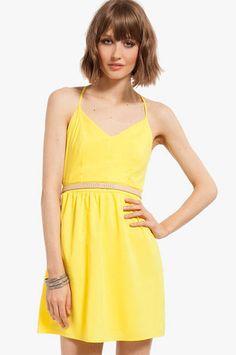 X back skater dress yellow