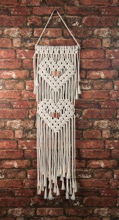 Macrame Plant Hanger Patterns, Macrame Wall Hanging Patterns, Macrame Patterns, Macrame Curtain, Macrame Design, Macrame Projects, Hanging Hearts, Modern Wall, Solid Oak