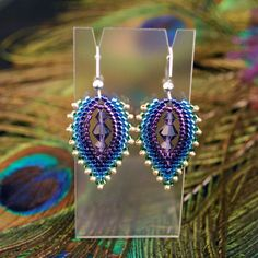 "Beaded ""Peacock Feather"" Earrings. 18.00, via Etsy."