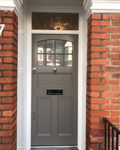 Quality Purpose Made Joinery in London & the South East Farrow And Ball Front Door Colours, Front Door Paint Colors, Exterior Paint Colors For House, Front Doors With Windows, Wood Front Doors, Painted Front Doors, Acoustic Wall Panels, Farrow And Ball Paint, Modern Front Door