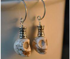 Art of Halloween Jewelry (earrings featuring crackle magnesite skulls)