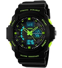 From 16.99:Boys Teenagers Kids Children Digital Sports Watches - Multifunction 50m Waterproof Electronic Sport Watch With Led Light Stopwatch Timer Alarm For Teenagers Junior Boys Kids Children ( Green )