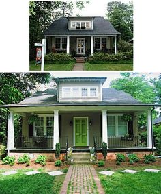 LOVE the dark grey house and bright green door! | Exterior Design ...