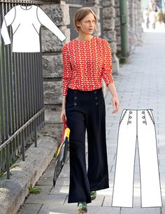 Sailor pants have been around the fashion platform for quite a long time. Here are 11 awesome outfit ideas to wear sailor pants. Marine Hose, Diy Fashion, Vintage Fashion, Vintage Style, Sailor Pants, Sailor Fashion, Sewing Blogs, Clothing Patterns, Burda Patterns