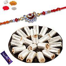 Anjir Roll Sweet With Designer Premium Rakhi