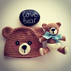 Crochet bear hat & Teddy bear by tonya