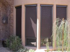 Offering custom roller shades in Phoenix metro area which provide wonderful benefits of stationary sunscreens, but with the flexibility of being able to roll them up and down as needed. Shades Blinds, Roller Shades, Phoenix Arizona, Shutters, Exterior, Windows, Patio, Gadgets, Sun