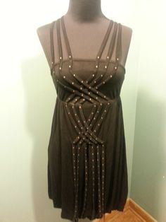 Charlotte Russe Criss Cross Studded Strap Viscose Spandex Bubble Dress S $19 Free Shipping!