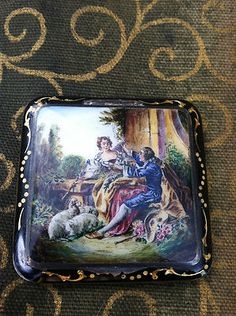 Antique Sterling Silver Austria hand painted compact