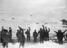 Saved! The men on Elephant Island wave to the rescue party