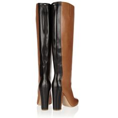Maison Martin Margiela Two-tone leather knee boots ($1,175) ❤ liked on Polyvore