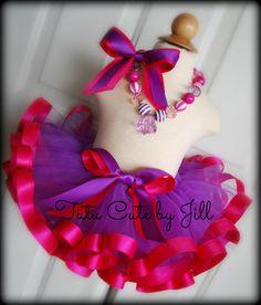 Sewn Purple Tutu with Hot Pink Satin Ribbon Trim. by Tutu Cute By Jill