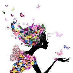 niña con flores y mariposas Foto de archivo - 10454381