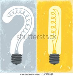 Question mark and exclamation mark lightbulbs. Vector illustration.