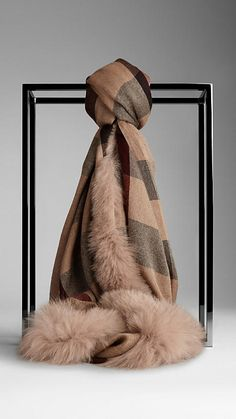 Fur Trim Cashmere Check Scarf | Burberry