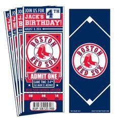12 Boston Red Sox Birthday Party Ticket Invitations by ThatsMyTicket on Etsy https://www.etsy.com/listing/205672495/12-boston-red-sox-birthday-party-ticket