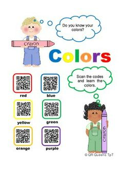 COLORS USING QR CODES - Pre k - 1st $