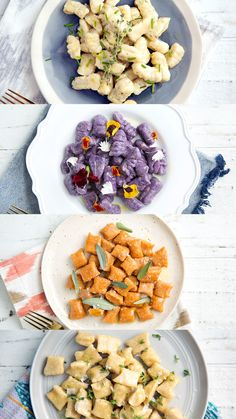 4 Ways Beautify your dinner plates with gnocchi varieties such as purple yam, sweet potato, plantain and more.Beautify your dinner plates with gnocchi varieties such as purple yam, sweet potato, plantain and more. Pasta Recipes, Dinner Recipes, Cooking Recipes, Recipes With Gnocchi, Dinner Entrees, Oven Cooking, Cooking Tools, Cooking Classes, Purple Yam