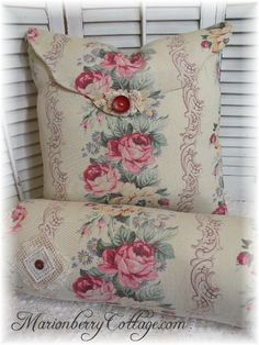 Vintage Cottage charm Old Rose and scrolls pillows ~ If I ever have a home with a room for a granddaughter I would make it with chintz and pillows like this ~so feminine so beautiful