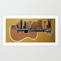 Acoustic Skyline-Nashville  Art Print by 4theloveofmusic - $19.95