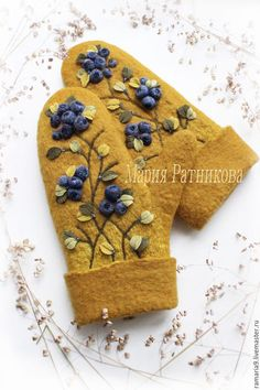Felted Slippers Pattern, Mittens Pattern, Wool Gloves, Mitten Gloves, Silk Ribbon Embroidery, Hand Embroidery, Wet Felting, Needle Felting, Handmade Crafts