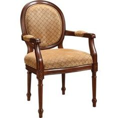 """Louis XVI arm chair with beige upholstery and turned legs.Product: Chair    Construction Material: Wood and fabric    Color: Beige and brown      Features: Will enhance any spaceEye-catching designDimensions: 39"""" H x 24"""" W x 27"""" D"""
