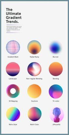Trendy gradients in web design. - Graphic - Trendy gradients in web design. Graphisches Design, Graphic Design Trends, Graphic Design Posters, Graphic Design Branding, Web Design Color, Graphic Designers, Graphic Design Illustration, Page Design, Product Design Poster