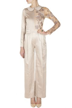 Taupe jumpsuit with sheer panel BY SAILEX