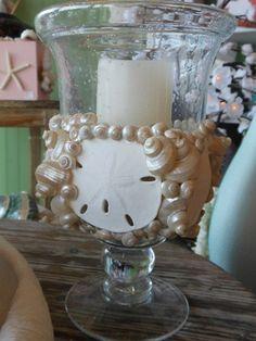 Beach Decor Sand dollar candle holder- Shell Candle Holder-Beach Decor