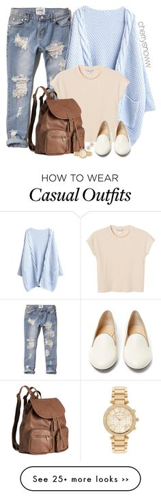 """Casual chic"" by cherrysnoww on Polyvore featuring Abercrombie & Fitch, Monki, Charlotte Olympia, H&M, Michael Kors, Anna Sheffield, casual, chic and CasualChic"