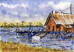 """Bayou Bait""-Original Watecolor ACEO by Barry Jones"