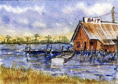 """Bayou Bait""-Original Watecolor ACEO by Barry Jones"