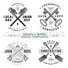 Vector Retro Union and Vintage Logo Template Set